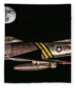 F-86 And The Moon Fleece Blanket
