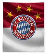 F C Bayern Munich - 3 D Badge Over Flag Fleece Blanket