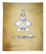 F22 Raptor Blueprint Fleece Blanket