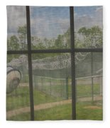 Prison Yard With Razor Wire, Guard House And Satellite Dish Fleece Blanket