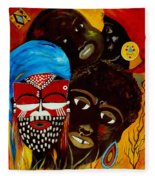 Faces Of Africa Fleece Blanket