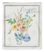 Faded Glory Chinoiserie - Floral Still Life 2 Blush Gold Cream Fleece Blanket