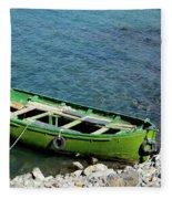 Faded Green Yellow Motor Power Boat Parked At Satpara Lake Pakistan Fleece Blanket