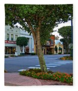 Fairhope Ave With Clock Fleece Blanket