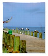 Fairhope Fisherman With Cast Net Fleece Blanket