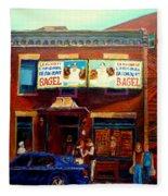 Fairmount Bagel By Montreal Streetscene Painter Carole  Spandau Fleece Blanket