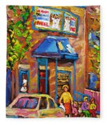 Fairmount Bagel Fairmount Street Montreal Fleece Blanket