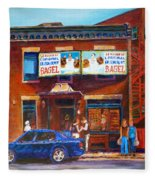 Fairmount Bagel With Blue Car  Fleece Blanket
