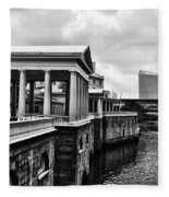 Fairmount Water Works In Black And White Fleece Blanket