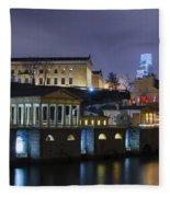 Fairmount Waterworks And Art Museum At Night Fleece Blanket