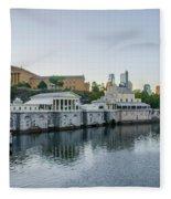 Fairmount Waterworks And Philadelphia Art Museum In The Morning Fleece Blanket