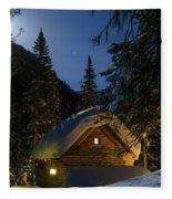Fairy House In The Forest Moonlit Winter Night Fleece Blanket