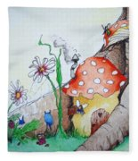 Fairy Mushrooms Fleece Blanket