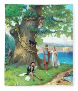 Fairy-tale Pushkin Lukomorye Fleece Blanket