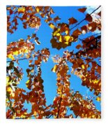 Fall Apricot Leaves Fleece Blanket