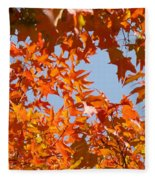 Fall Art Prints Orange Autumn Leaves Baslee Troutman Fleece Blanket