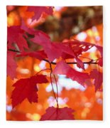 Fall Art Red Autumn Leaves Orange Fall Trees Baslee Troutman Fleece Blanket