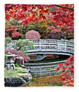 Fall Bridge In Manito Park Fleece Blanket