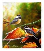 Fall Chickadees Fleece Blanket