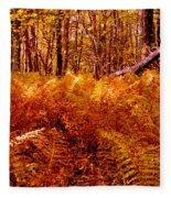 Fall Color In The Woods Fleece Blanket