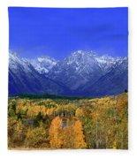 Fall Colored Aspens Grand Tetons Np Fleece Blanket
