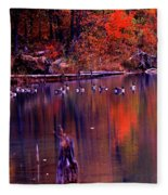 Fall Colors And Geese Fleece Blanket