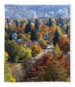 Fall Colors In Spokane From The Post Street Hill Fleece Blanket