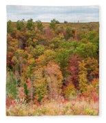 Fall Colors On Hillside Fleece Blanket