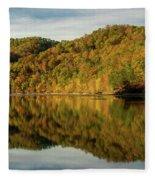 Fall Colors On Lake Reflection Fleece Blanket