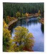 Fall Colors On The River Fleece Blanket