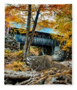 Fall Colors Over The Flume Gorge Covered Bridge Fleece Blanket