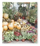 Fall Decorating At The Market Fleece Blanket