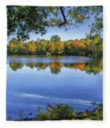 Fall Foliage At Turners Pond In Milton Massachusetts Fleece Blanket