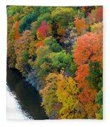 Fall Foliage In Hudson River 1 Fleece Blanket