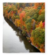 Fall Foliage In Hudson River 10 Fleece Blanket