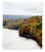 Fall Foliage In Hudson River 13 Fleece Blanket