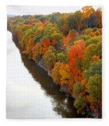 Fall Foliage In Hudson River 6 Fleece Blanket