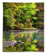 Fall Foliage Reflection Fleece Blanket