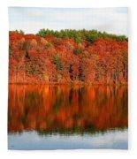 Fall Foliage Reflection Kennebec River Hallowell Fleece Blanket