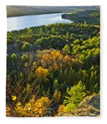 Fall Forest And Lake Top View Fleece Blanket