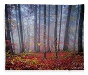 Fall Forest In Fog Fleece Blanket