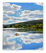 Fall Kayaking Reflection Landscape Fleece Blanket