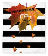 Fall Leaf Love Typography On Black And White Stripes Fleece Blanket