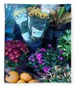 Fall Market Scene In Watercolor Fleece Blanket