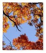 Fall Oak Leaves Up Above Fleece Blanket