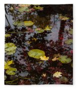 Fall Pond Reflections - A Story Of Waterlilies And Japanese Maple Trees - Take One Fleece Blanket