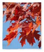 Fall Red Orange Leaves Blue Sky Baslee Troutman Fleece Blanket