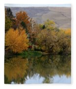 Fall Reflection Below The Hills In Prosser Fleece Blanket