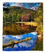 Fall Reflections On Cary Lake Fleece Blanket