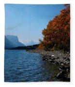Fall Shoreline. Fleece Blanket
